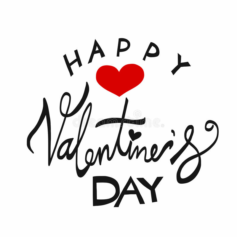 Glückliche Valentinsgruß ` s Tageswort-Beschriftungsillustration stockbild