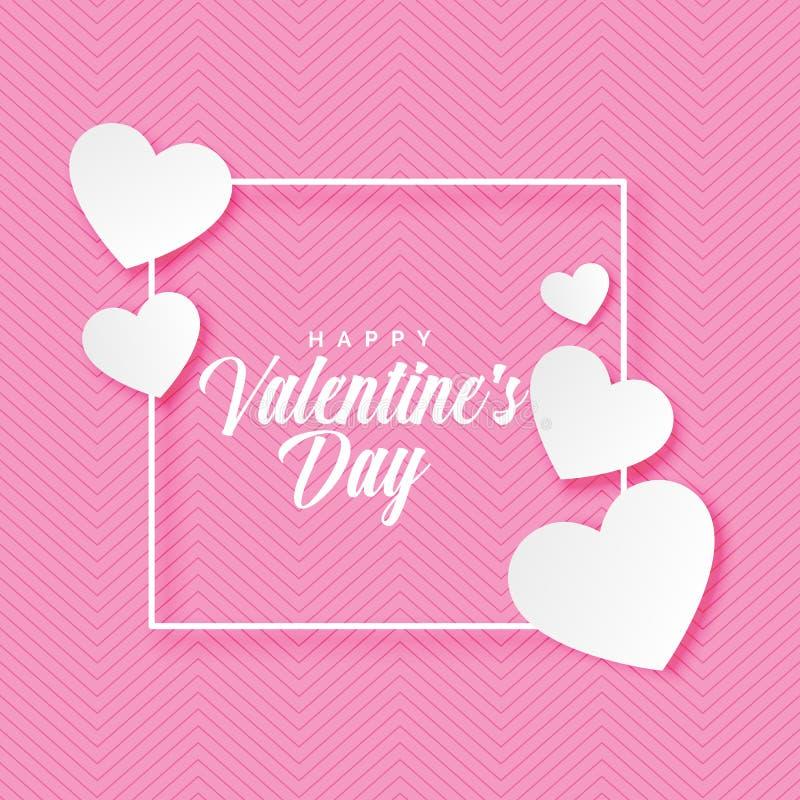 Glückliche Valentinsgruß-Tagesbeschriftung mit auf rosa Hintergrund vektor abbildung