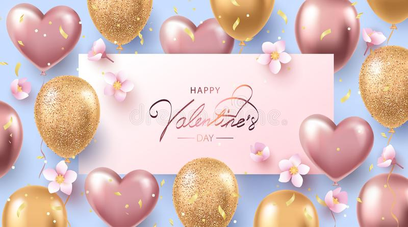 Glückliche Valentinsgruß-Tagesfahne, Plakat oder Flieger mit Heliumglanzrosegold- und -goldballonen, Konfettis und Kirschblüten stock abbildung