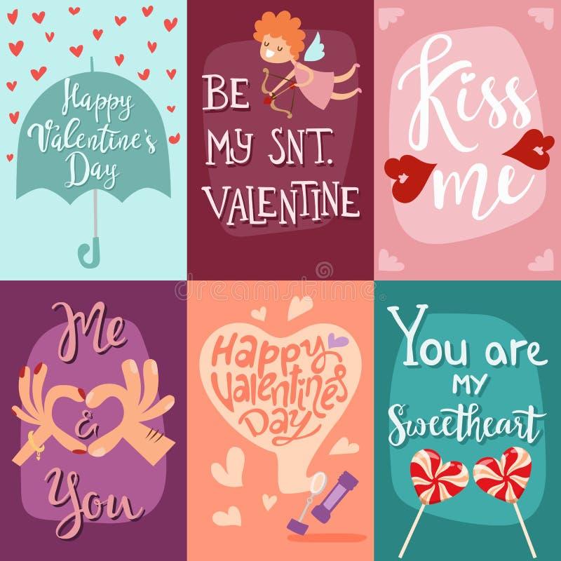 Glückliche Valentinsgruß-Tagesgrußkarten-Vektorillustration lizenzfreie abbildung
