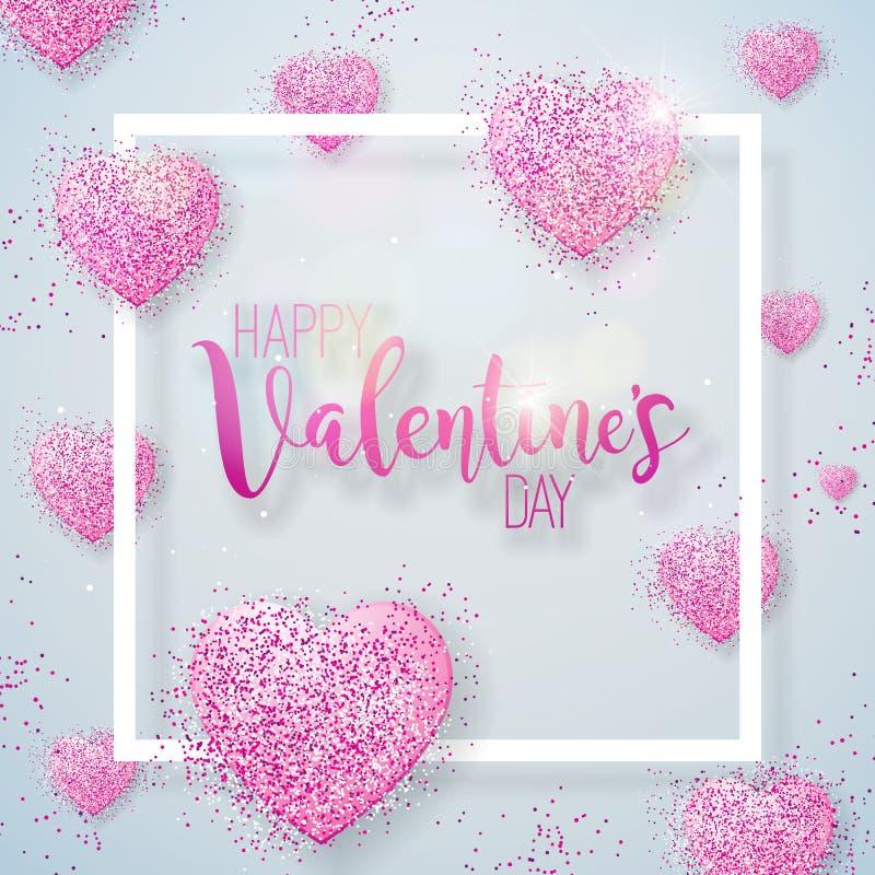 Glückliche Valentinsgruß-Tagesillustration mit rosa gefunkeltem Herd auf glänzendem weißem Hintergrund Vektor-Hochzeit und Liebes vektor abbildung
