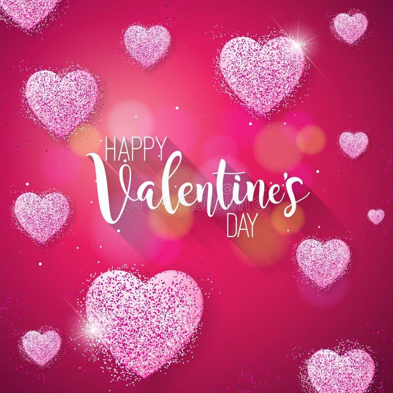 Glückliche Valentinsgruß-Tagesillustration mit rosa gefunkeltem Herzen auf glänzendem rotem Hintergrund Vektor-Hochzeit und Liebe vektor abbildung