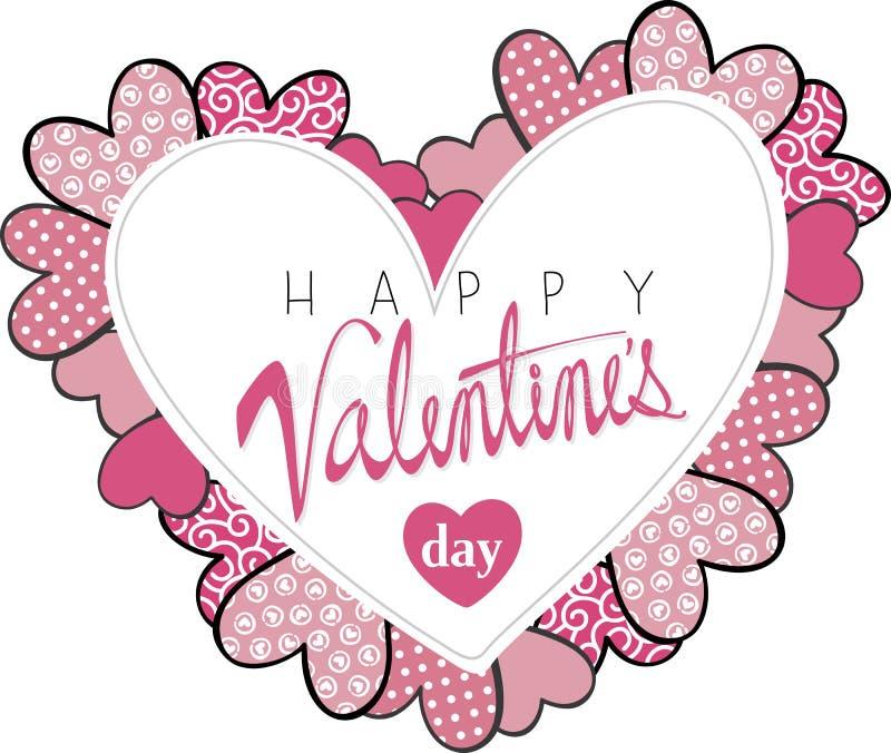 Glückliche Valentinsgruß-Tageskarte lokalisiertes Herz lizenzfreie abbildung