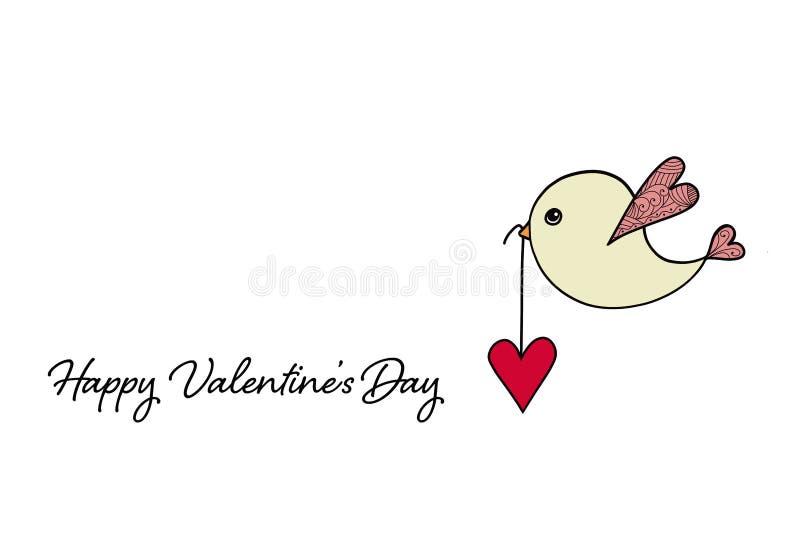 Glückliche Valentinsgruß-Tageskarte mit tragendem Herzen des Vogels stockbilder
