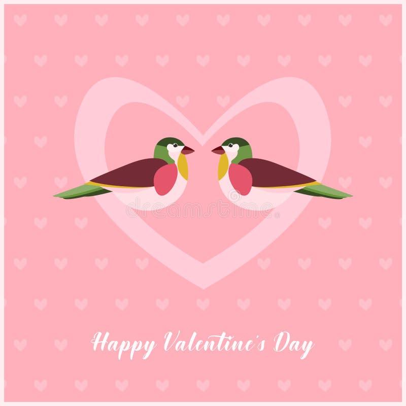 Glückliche Valentinsgruß-Tageskarte mit zwei Vögeln im Herzen Kleine Herzen kopieren auf Hintergrund lizenzfreie abbildung