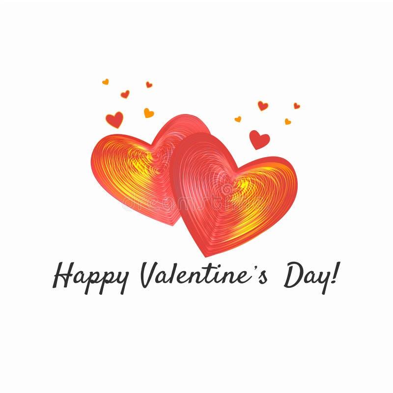Glückliche Valentinsgruß-Tageskarte, Typografie, Hintergrund mit Herzen lizenzfreie abbildung