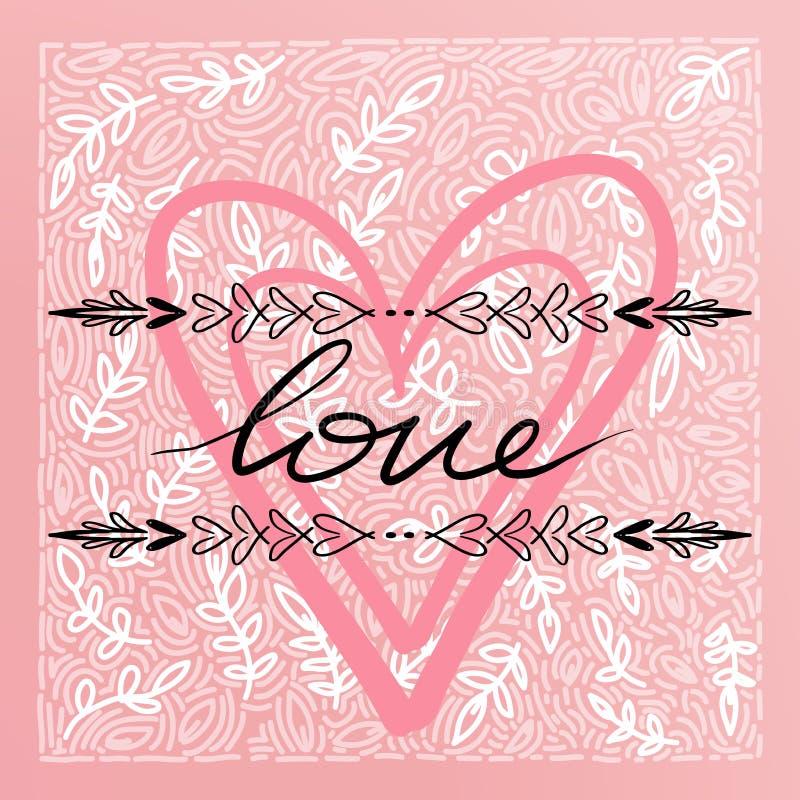 Glückliche Valentinsgruß-Tageskarte, Typografie, Hintergrund mit Herzen - vektor abbildung