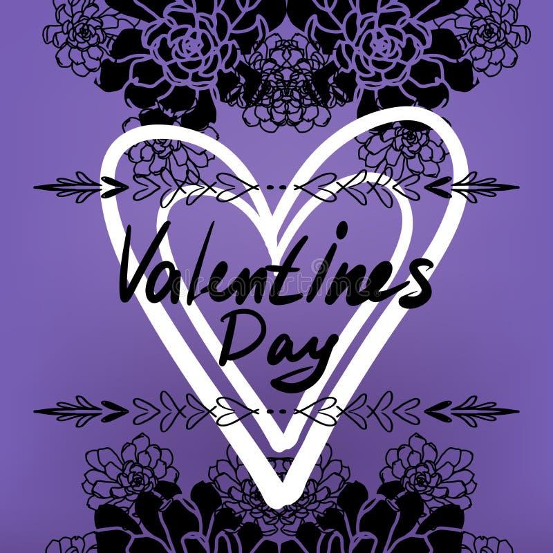 Glückliche Valentinsgruß-Tageskarte, Typografie, Hintergrund mit Herzen - stock abbildung