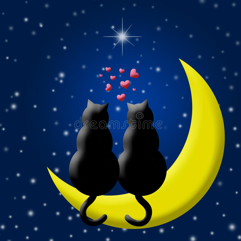 Glückliche Valentinsgruß-Tageskatzen in der Liebe, die auf Mond sitzt stock abbildung