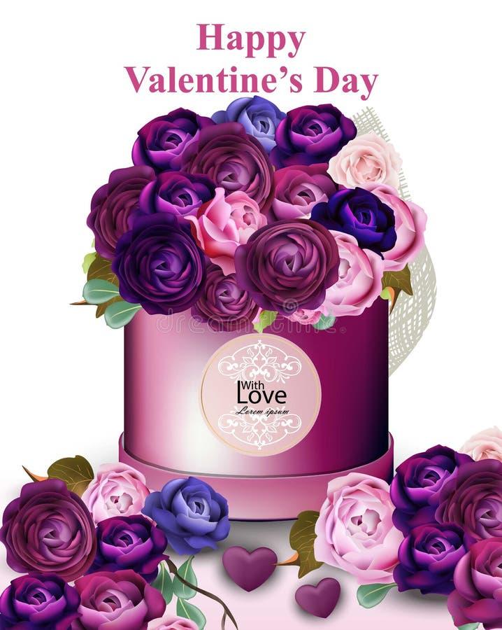 Glückliche Valentinsgrußkarte mit Pfingstrose und Rosen blüht Geschenkbox Vektorillustrationen stock abbildung