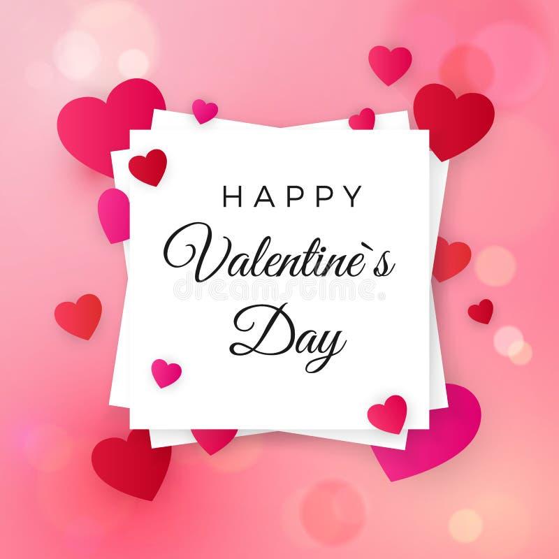 Glückliche Valentinsgrußtages- und -Hochzeitsgestaltungselemente Gruß des Textes auf weißem Aufkleber auf rosa Hintergrund mit He lizenzfreie abbildung