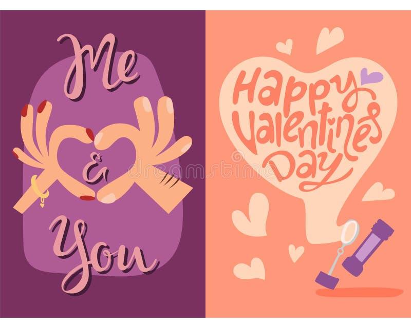 Glückliche Valentinsgrußtagesgrußkarten vector Romanze abstrakte dekorative Fahne der Illustrationsliebe vektor abbildung