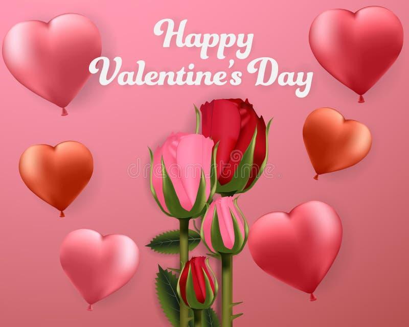 Glückliche Valentinsgrußtagesherz- und -rosenhintergrundfahnenkarte Tapete, Einladung, Plakate, Broschüre vektor abbildung