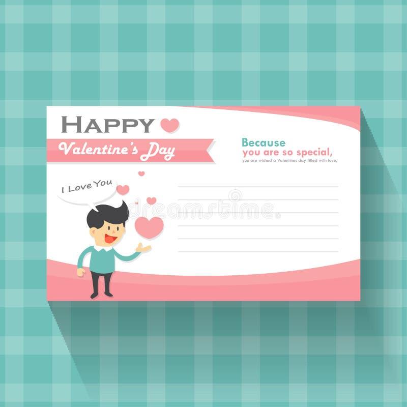 Glückliche Valentinsgrußtageskarikatur mit rosa Herzgrußkarten-, rosa und Blauemmusterhintergrundvektor lizenzfreie abbildung