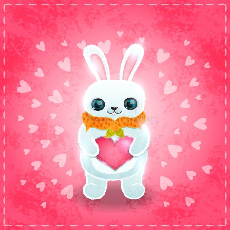 Glückliche Valentinsgrußtageskarte mit Kaninchen und Herzen vektor abbildung