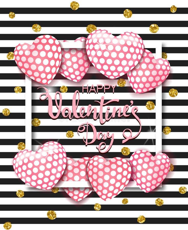 Glückliche Valentinsgrußtageskarte mit nettem rosa Herzen steigt im Ballon auf Schablone für Hintergrund, Plakat, Werbung, Verkau lizenzfreie abbildung