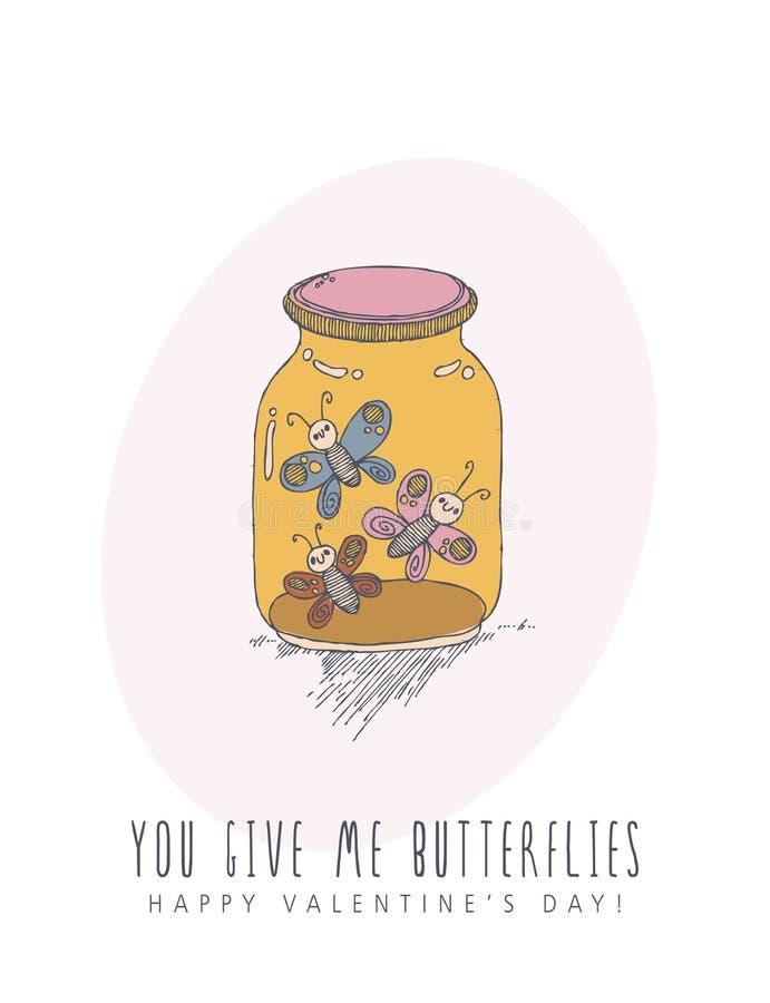 Glückliche Valentinsgrußtageskreative Vektor-Grußkarte mit nettem Charakter in der Linie Kunstart Liebesplakat mit Schmetterlinge vektor abbildung