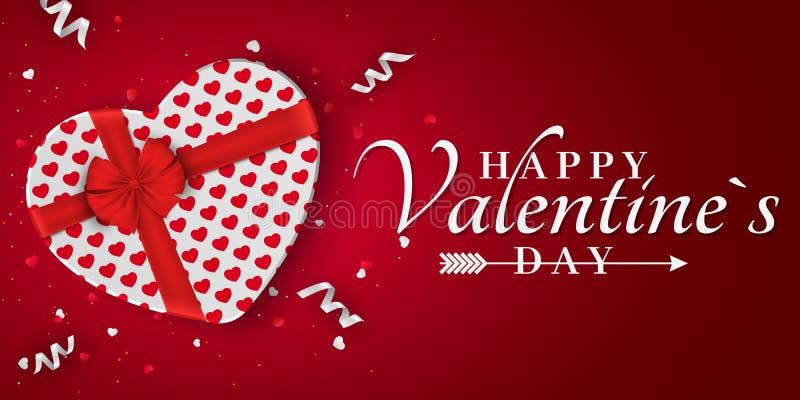 Glückliche Valentinsgrußtagesrote romantische Fahne Geschenk vom Herzen Weiße Geschenkbox mit einem roten Bogen Muster der Innere vektor abbildung