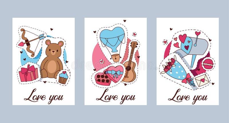 Glückliche Valentinsgrußtagvektorillustration Stellen Sie von der romantischen Grußkarte der Valentinsgrüße, Einladung, Plakatsch vektor abbildung