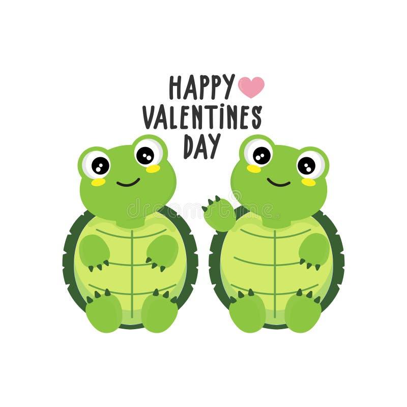 Glückliche Valentinstag Grußkarte mit süßen Schildkröten lizenzfreie abbildung