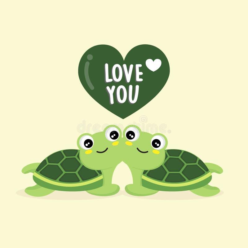 Glückliche Valentinstag Grußkarte mit süßen Schildkröten vektor abbildung