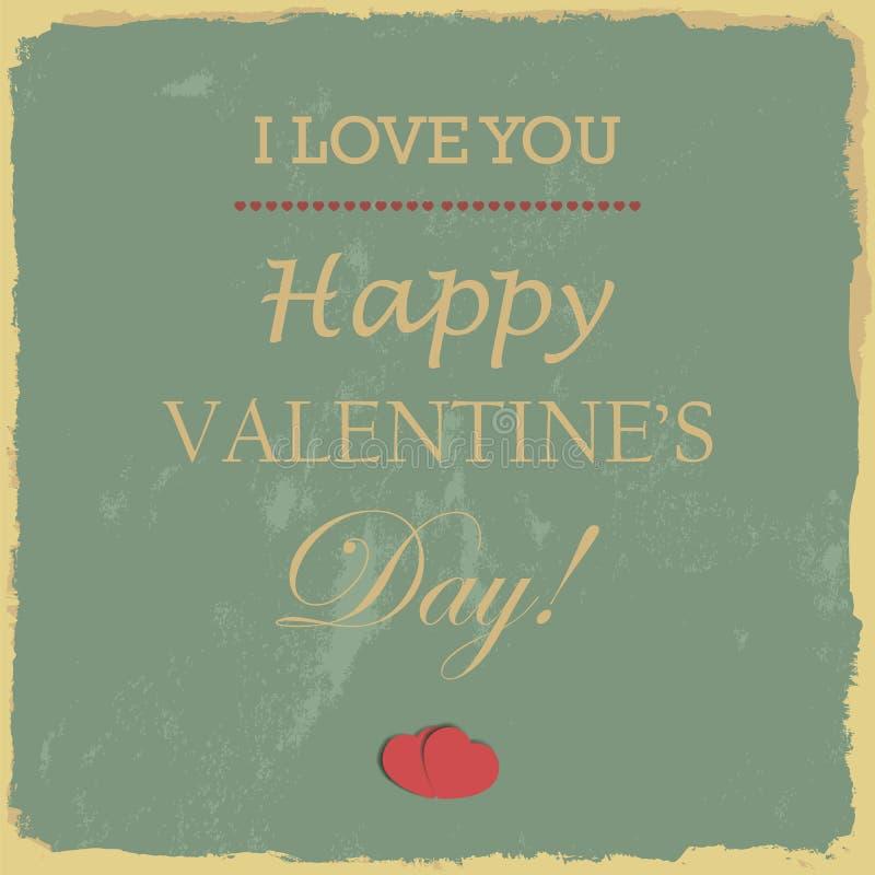 Glückliche Valentinstag-Handbeschriftung - typografischer Hintergrund stock abbildung