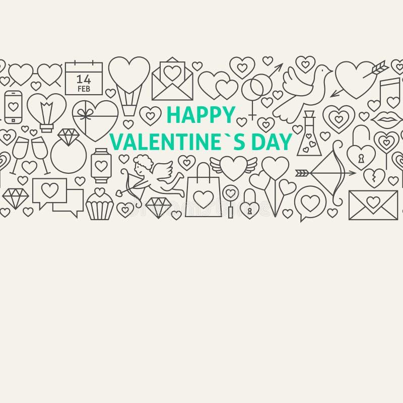 Glückliche Valentinstag-Linie Art Icons Seamless Web Banner lizenzfreie abbildung