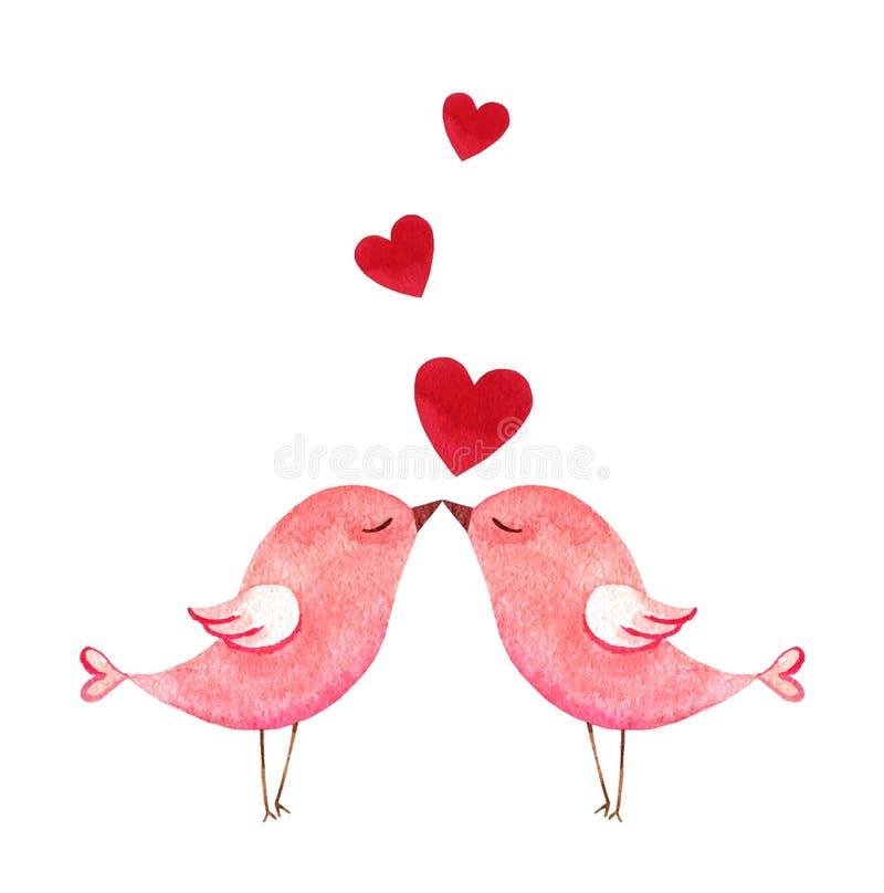 Glückliche Valentinstagaquarell-Vektorillustration lizenzfreie abbildung