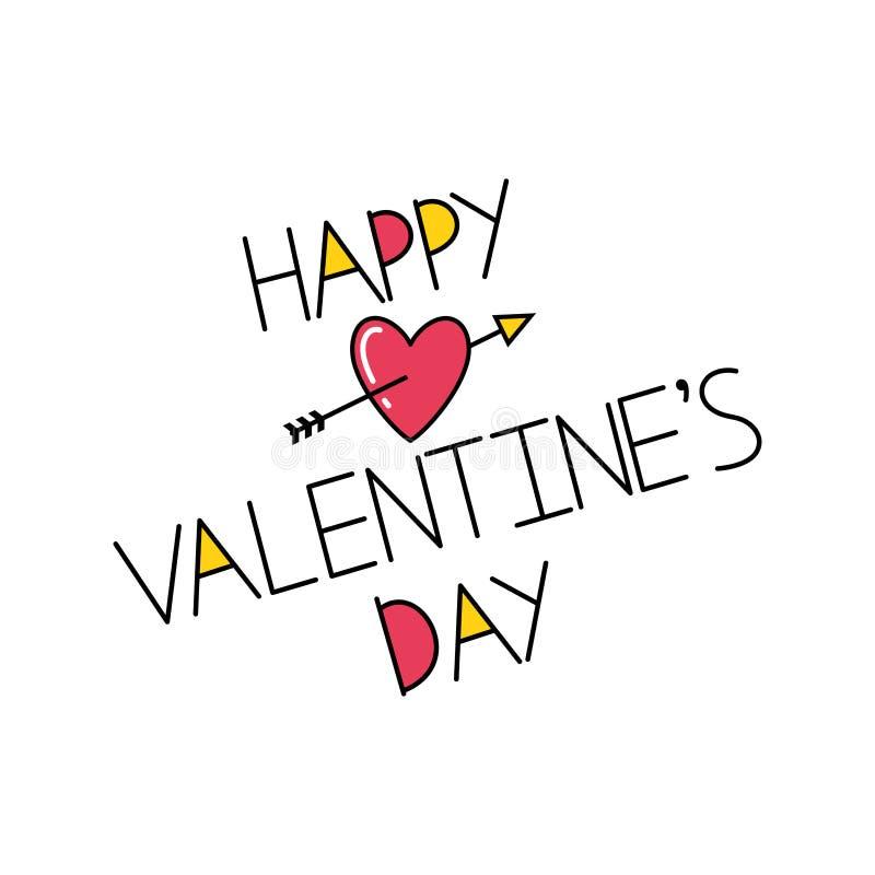 Glückliche Valentinstagaufschrift mit Herzen und Pfeil stock abbildung