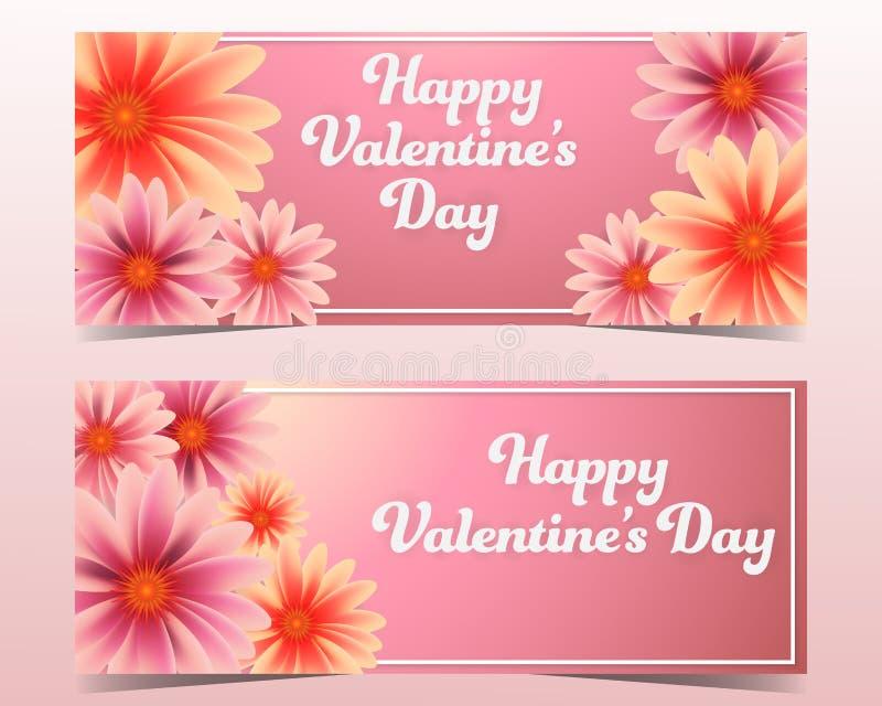 Glückliche Valentinstaghintergrundfahne eingestellt mit Blumen lizenzfreie abbildung