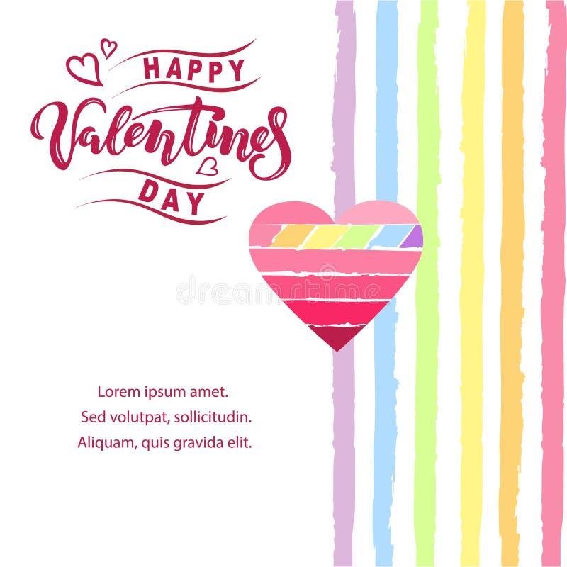 Glückliche Valentinstagillustration mit Herz- und Regenbogenfarbstreifen Handgeschriebene beschriftende Valentinsgrüße als Logo,  lizenzfreie abbildung