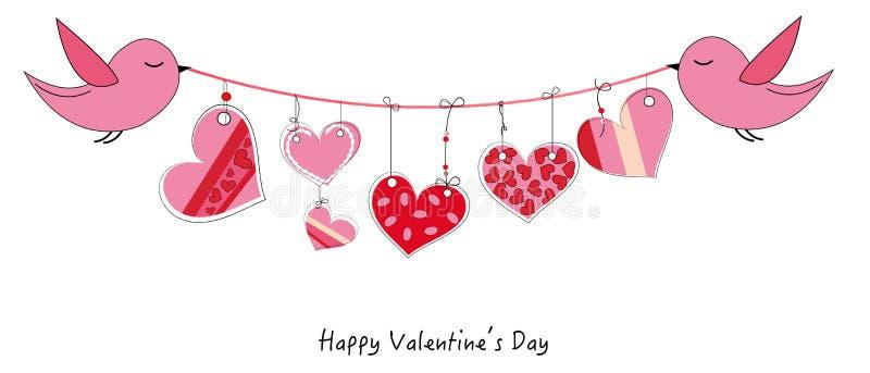 Glückliche Valentinstagkarte mit den Vögeln, die Gekritzelherz-Vektorhintergrund hängen vektor abbildung