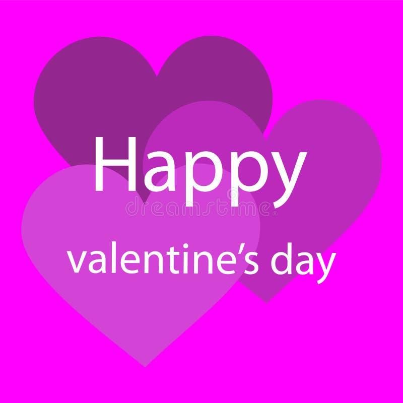Glückliche Valentinstagvektorillustration mit rosa Hintergrund stock abbildung