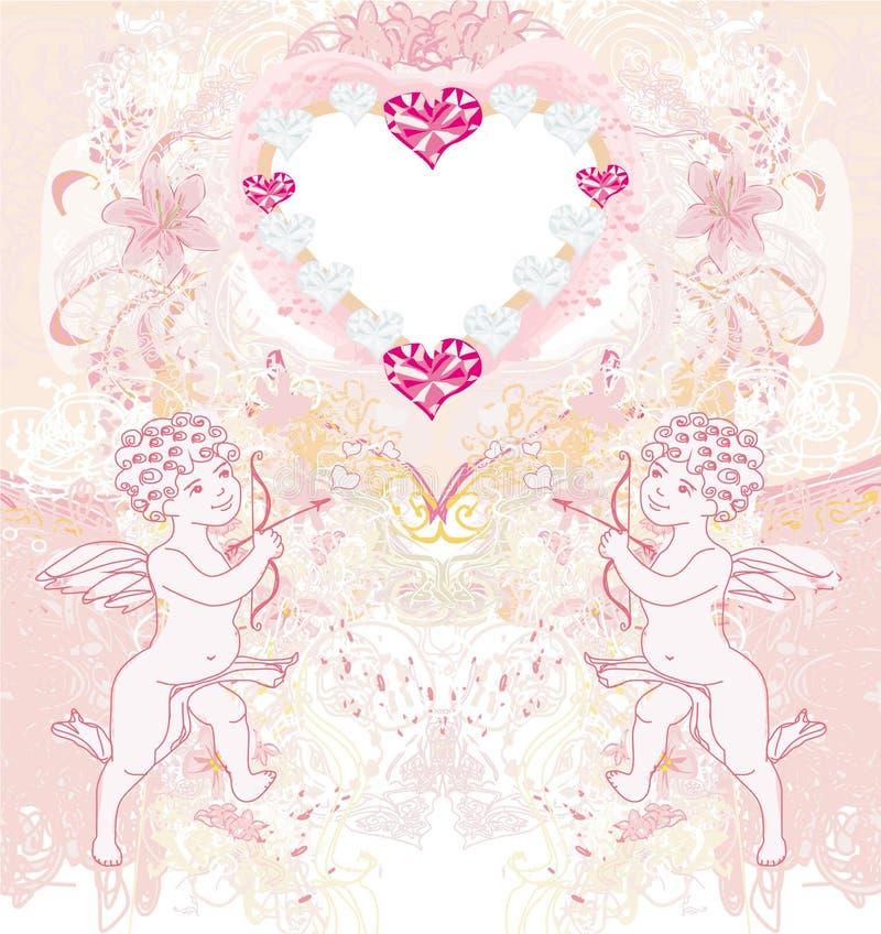 Glückliche Valentinstagweinlesekarte mit Amoren vektor abbildung