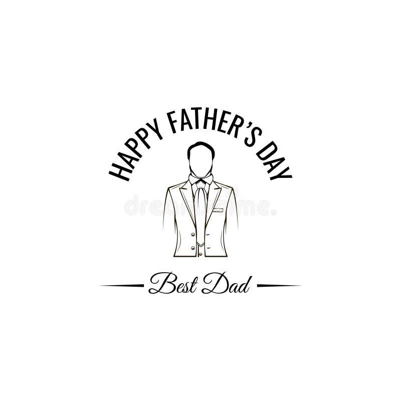 Glückliche Vatertags-Grußkarte Elegantes Kostüm, Krawatte Beste Vatibeschriftung Anzug, Gleichheit Vatigeschenk Vektor lizenzfreie abbildung