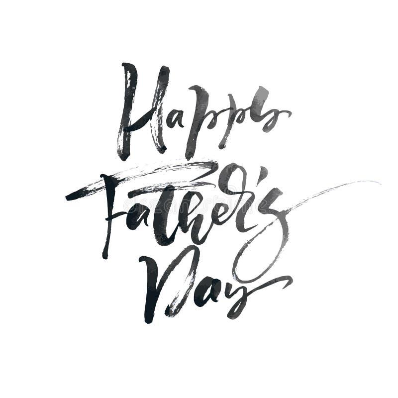 Glückliche Vatertags-Handgezogener kalligraphischer beschriftender Textentwurf Isoladed Zitat der Vektorkalligraphie Illustration lizenzfreie abbildung