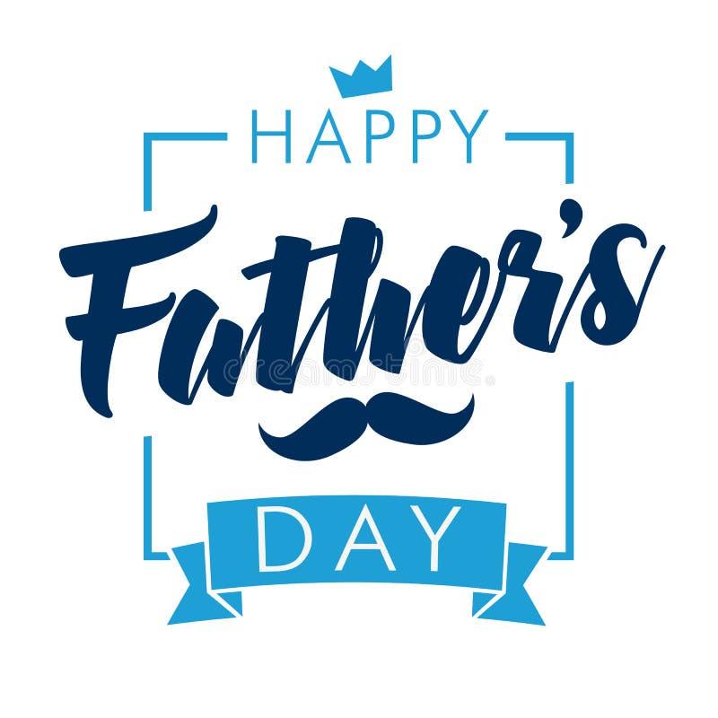 Glückliche Vatertags-Kalligraphielichtfahne stock abbildung