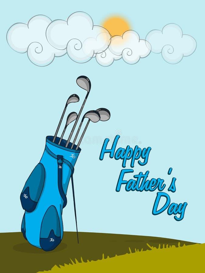 Glückliche Vatertagsfeier mit Golfclub lizenzfreie abbildung