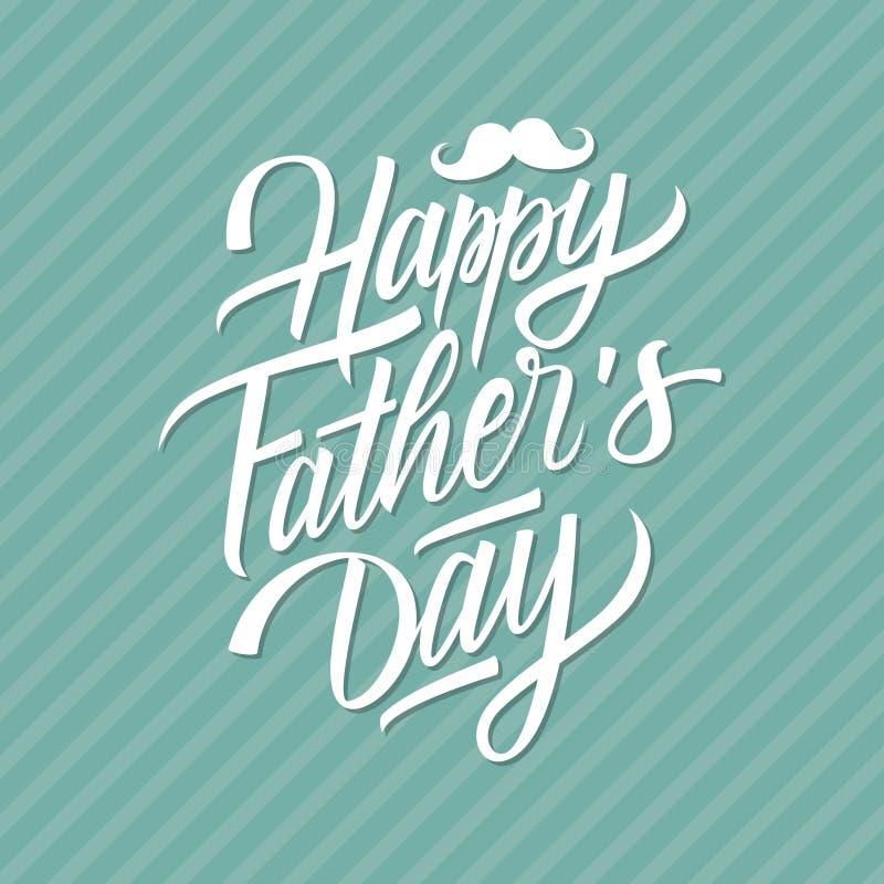 Glückliche Vatertagshand gezeichnet, Grußkarte beschriftend lizenzfreie abbildung