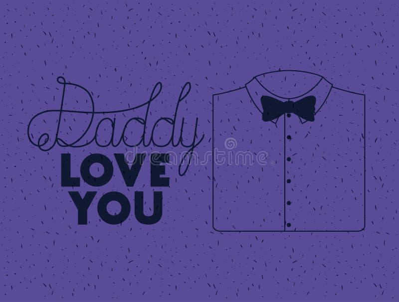 Glückliche Vatertagskarte mit elegantem Hemd und bowtie vektor abbildung