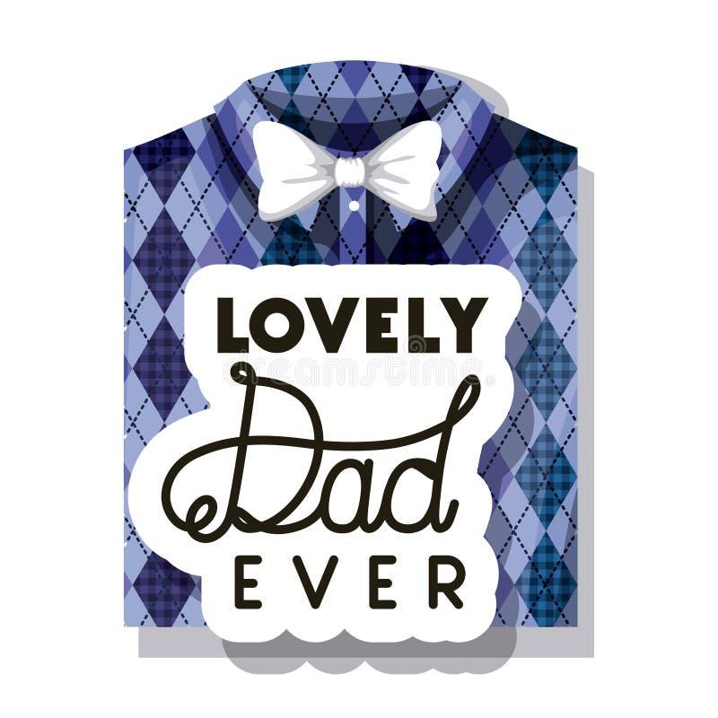 Glückliche Vatertagskarte mit elegantem Hemd und bowtie stock abbildung