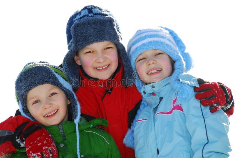 Glückliche Winterkinder stockfotos