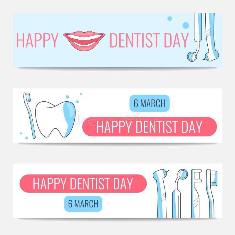 Glückliche Zahnarzt-Day-Fahnen stock abbildung