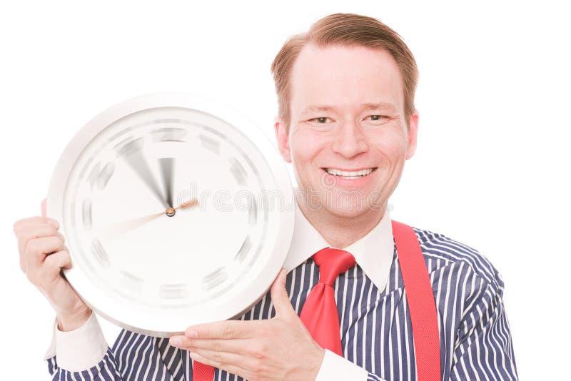 Glückliche Zeit (spinnende Uhrzeigerversion) stockbild