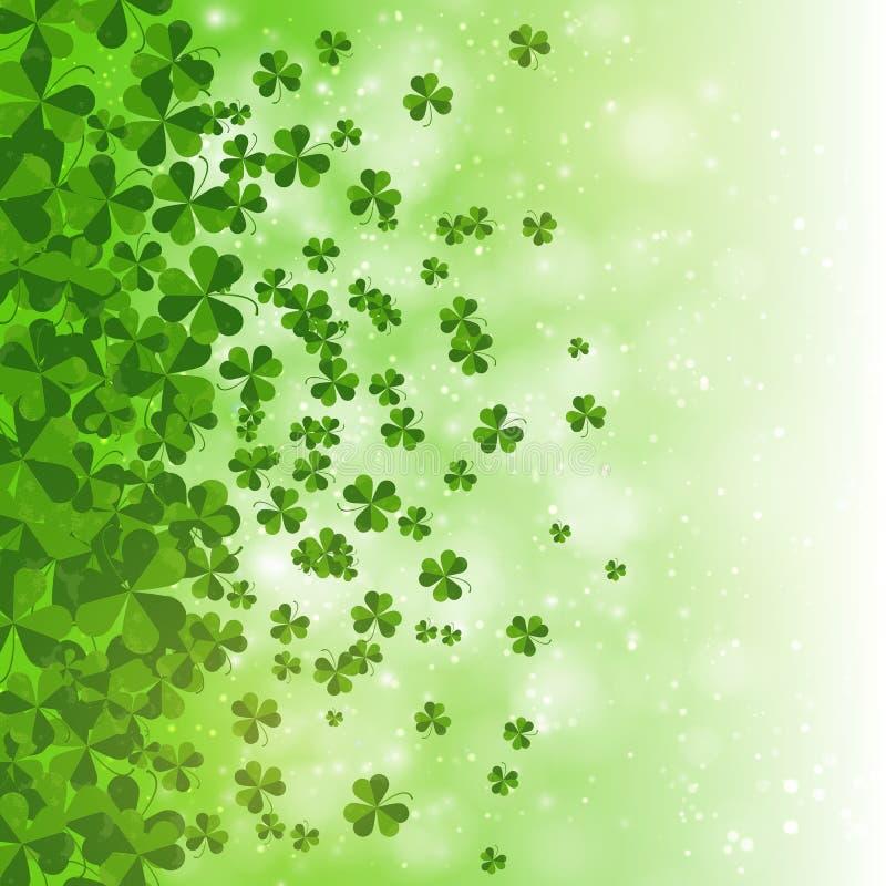 Glücklichen St Patrick Tageshintergrunddesign, Postkarte, Schablone, Einladung, grüner Shamrock verlässt, Vektor lizenzfreie abbildung