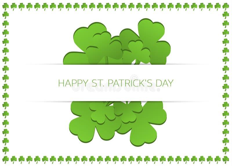 Glücklichen St Patrick Tageskarte mit Shamrocks vektor abbildung