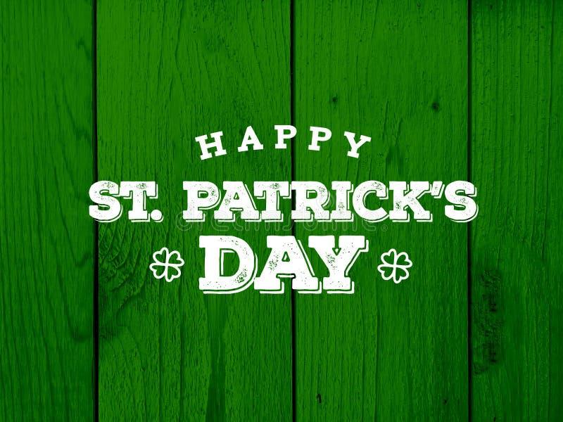 Glücklichen St Patrick Tagestext über grünem hölzernem Hintergrund stock abbildung