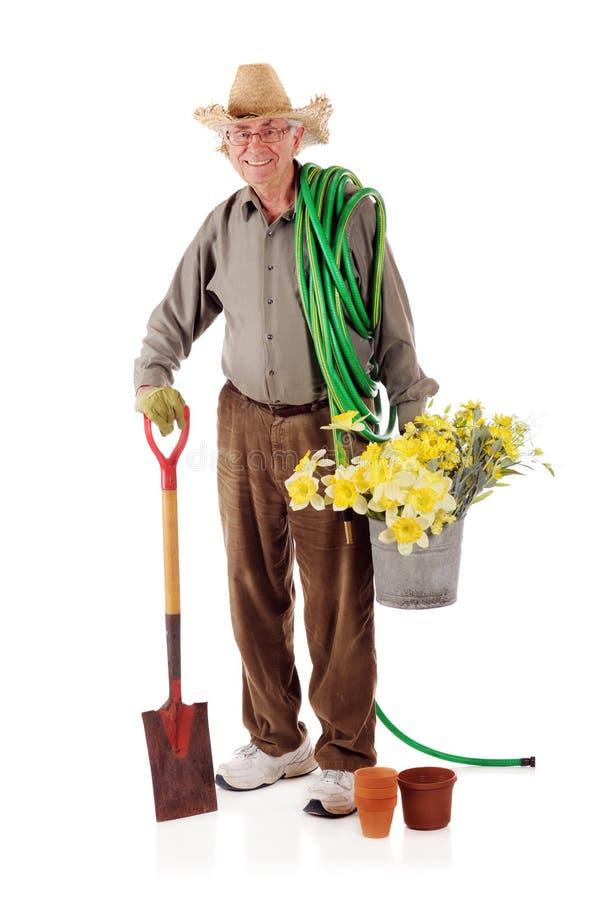 Glücklicher älterer Gärtner stockfotos