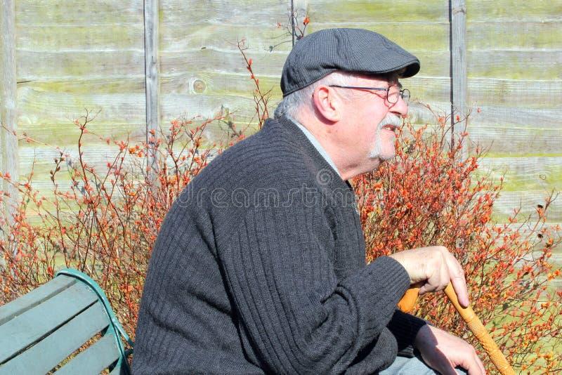 Glücklicher älterer Mann, der auf einer Bank sitzt stockfotografie