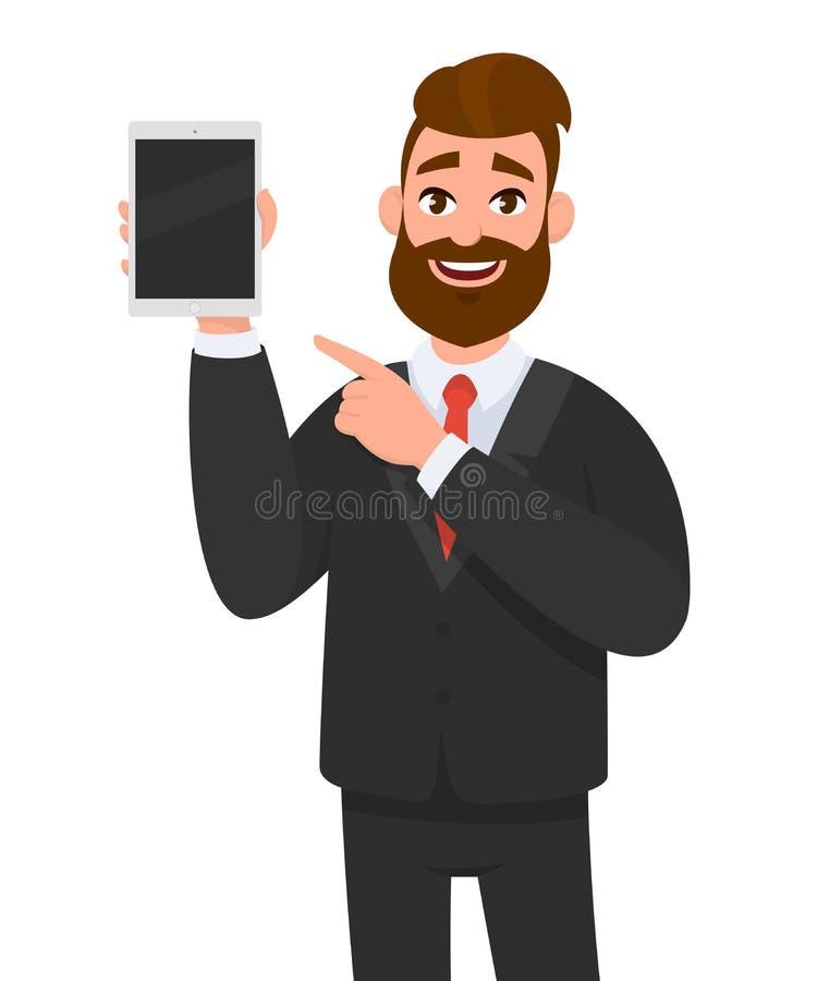 Glücklicher überzeugter Geschäftsmann, der einen Tablet-Computer des leeren Bildschirms zeigt und in Richtung zu ihm zeigt stock abbildung